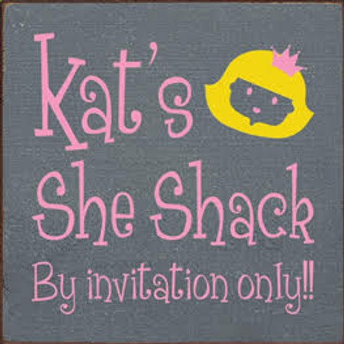 7x7 Slate board with Pink and Sunflower text Wood Sign Kat's She Shack By invitation only!!