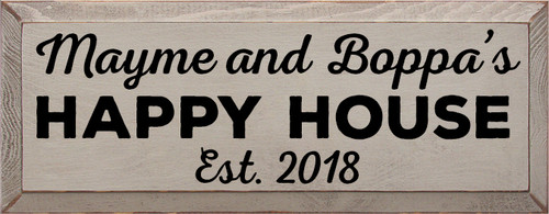 7x18 Walnut Stain board with Mustard text Wood Sign Mayme and Boppa's Happy House Est 2018