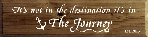 9x36 Walnut Stain with White text Wood Sign It's not in the destination its in the journey