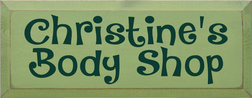 7x18 Celery board with Green text Wood Sign Christine's Body Shop