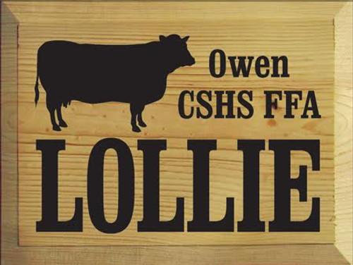 Lollie Owen CSHS FFA 9 x 12 Butternut Stain Board With Black Text Custom Wood Sign