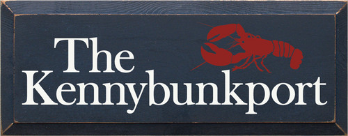 7x18 Navy Blue board with White and Red text Wood Sign The Kennybunkport
