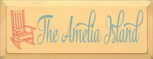 7x18 Baby Tangerine board with Sea Blue and Coral text Wood Sign The Amelia Island