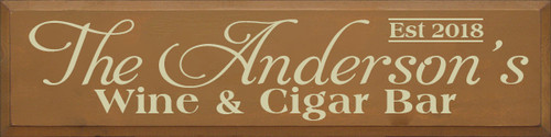 9x36 Toffee board with Cream text Wood Sign The Anderson's Wine & Cigar Bar Est 2018