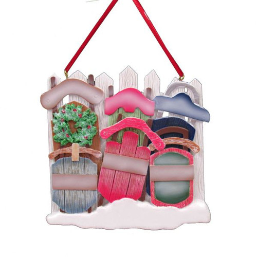 Resin Family of Six Sled Ornament 4.25 in.