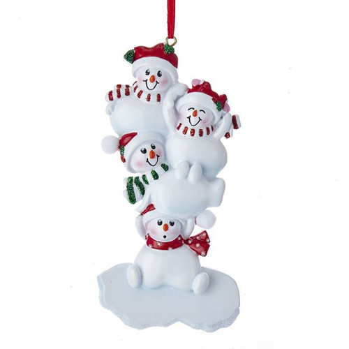 """4.88""""RESIN STACKED SNOWMAN OF 4 ORN"""