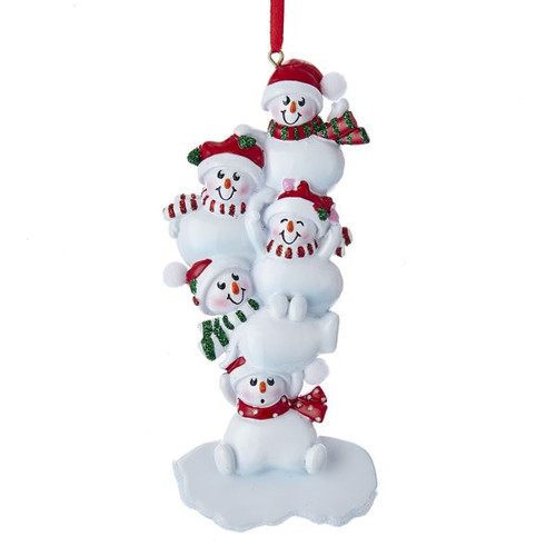 "5.75""RESIN STACKED SNOWMAN OF 5 ORN"