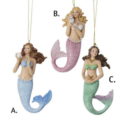 Resin Mermaid Ornaments 4.75 in.