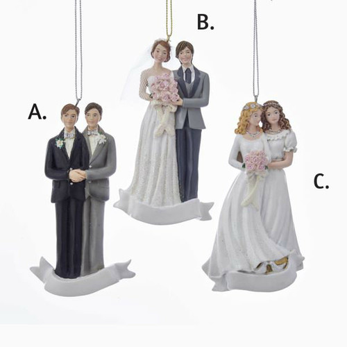 """4.25""""RESIN Gay or Straight WEDDING COUPLE ORN 3/Assorted"""