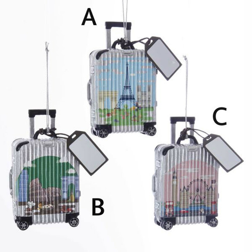 Italy, Paris, London Luggage Travel Ornaments 3.75 inches