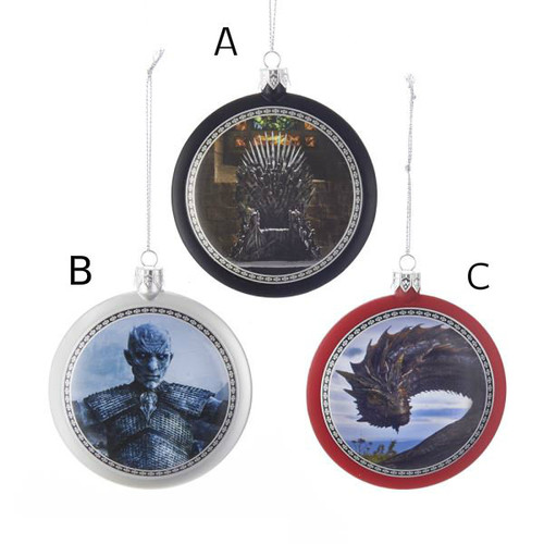 Game of Thrones Assorted Disc Ornaments  These 3 inch Game of Thrones disc ornaments are perfect for GOT fans. Choose from a Daenerys' Dragon on a red ornament, The Night's King on a silver ornament, and the Iron Throne on a black ornament. Each have the Game Of Thrones logo on the back.