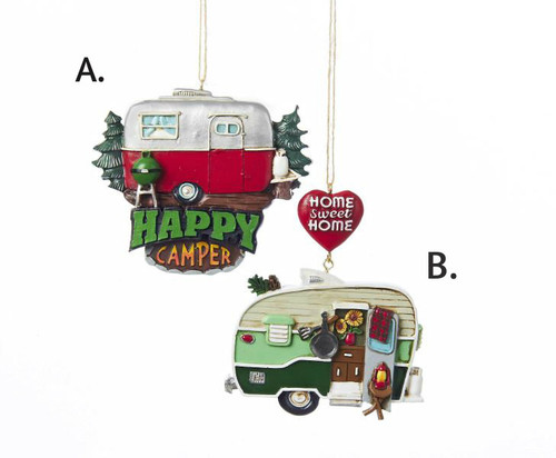 Resin Painted Camper Ornament 3.75 in.