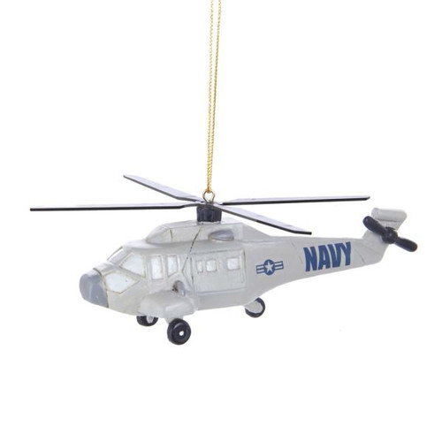 RESIN NAVY HELICOPTER ORNAMENT