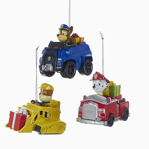Paw Patrol Friends Ornament Chase - Marshall - Rubble On Trucks 3.25 inches