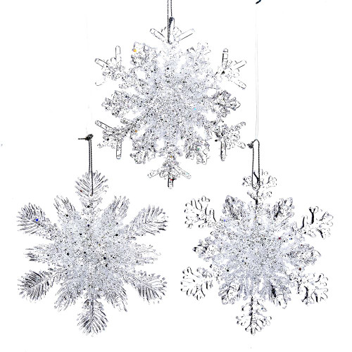 Clear Plastic Glitter Snowflake Ornament Set of Three 4.5in.