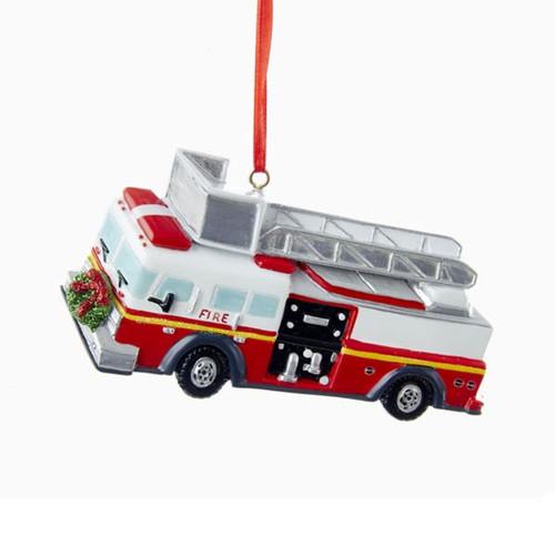 RESIN FIRE TRUCK ORNAMET