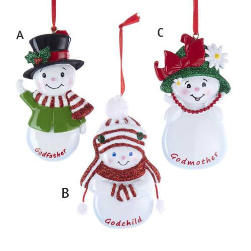 """4.25""""Godchild, Godmother, Godfather Snowman personalized ornaments"""