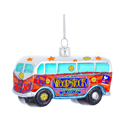 Woodstock Glass Bus Ornament 4 in.