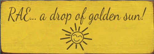 3.5x10 Sunflower board with Brown text Wood Sign RAE... a drop of golden sun!