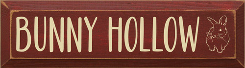 5x18 Burgundy board with Cream text Wood Sign BUNNY HOLLOW