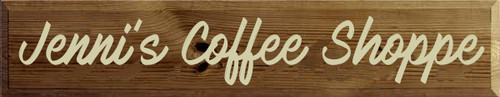 7x36 Walnut Stain board with Cream text Wood Sign Jenni's Coffee Shoppe