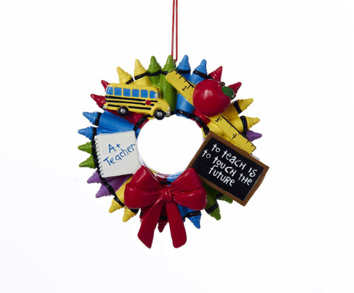"Crayon Wreath ""A+ Teacher-To Teach Is To Touch The Future"" ornament Item Size: 3.5-3.75-inches tall"
