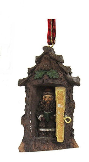Hinged Rustic Woodland Cabin Bear Outhouse