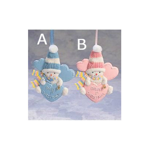 Baby's 1st Christmas Pink or Blue Snowmen Ornaments
