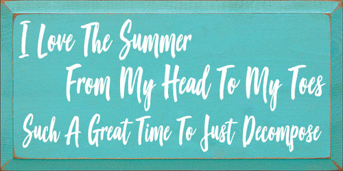 9x18 Aqua board with White text  I love the summer from my head to my toes such a great time to just decompose