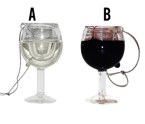 These wine glass ornaments are a delightful addition to any holiday or theme party décor. Each ornament features a wine glass with liquid sealed inside to give a look of wine without a mess.     Made of glass     Choose from red or white wine     Hangs from a silver string  Item Size: 2.75-inches tall