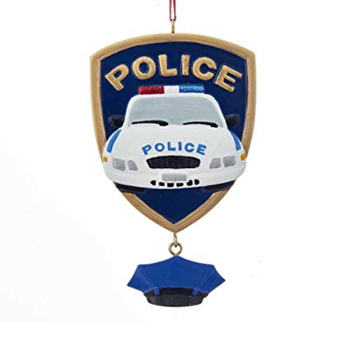 Police Car Badge 4.25 Inch Personalized Ornament