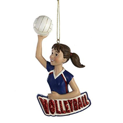 "Girl Volleyball Player Ornament 4.38"" Flat Resin Ornament  This cute ponytailed brunette volleyball player ornament can be personalized with Name and Year written on the Volleyball"