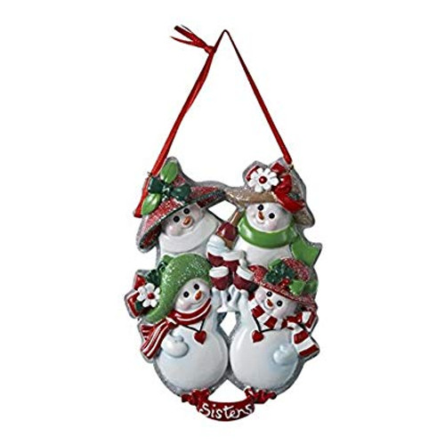 `- Four Snow Sisters Drinking Wine Personalized Ornament