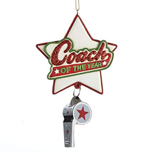 Coach Of The Year Star With Whistle Personalized Ornament