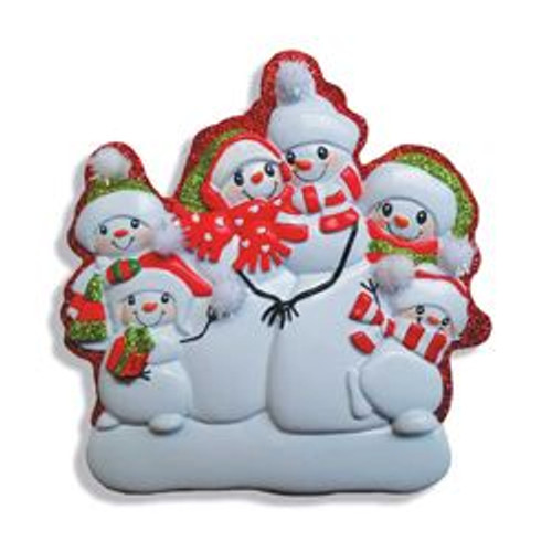 Snowman Family Of Six Personalized Ornament