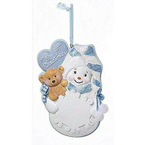 My First Christmas Blue With Snowflake Personalized Ornament