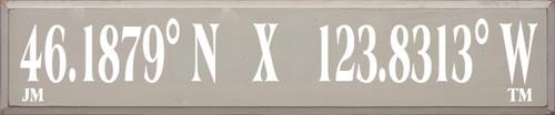 10x48 Putty board with White text  46.1879° N    X    123.8313° W  JM TM
