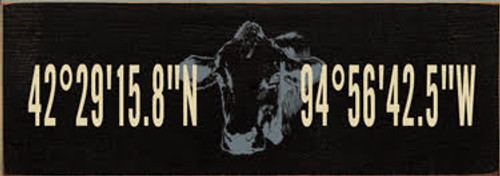 """3.5x10 Black board with Cream and Slate text  42°29'15.8""""N 94°56'42.5""""W"""