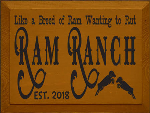 CUSTOM Ram Ranch 9x12 Wood Painted Sign Carmel painted board with black lettering