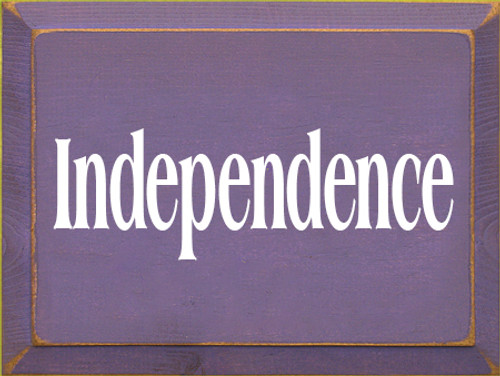 9x12 Purple board with White text  Independence