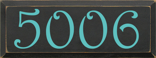 9x24 Charcoal board with Aqua text  5006