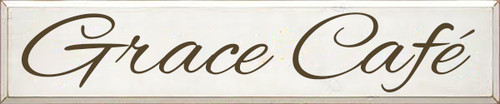 10x48 White board with Brown text  Grace Cafe