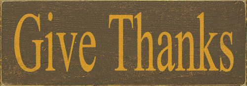 "Give Thanks 3.5x10"" Wood Sign"