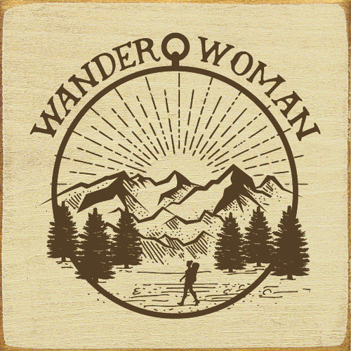 "Wander Woman 7x7"" Wood Sign"