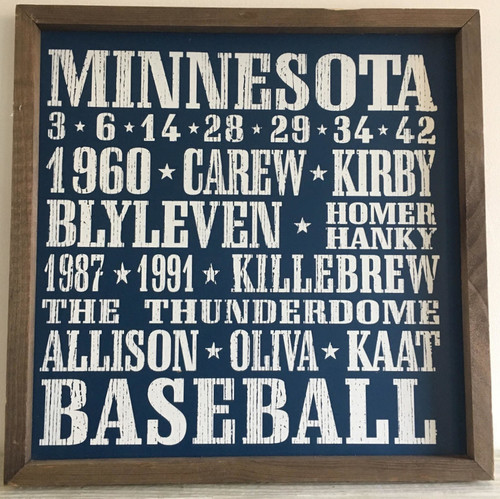 Minnesota Twins Baseball 18x18 inch Vintage Print Wood Sign