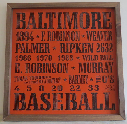 Baltimore Orioles Baseball 18x18 inch Vintage Print Wood Sign