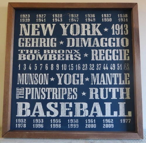 New York Yankees Baseball 18x18 inch Vintage Print Wood Sign