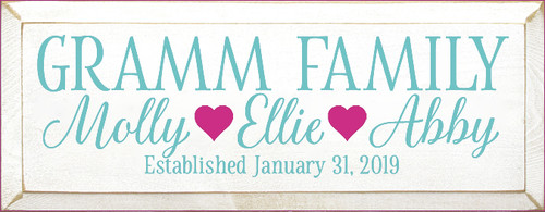 7x18 White board with Aqua and Blush text  GRAMM FAMILY Molly Ellie Abby Established January 31, 2019