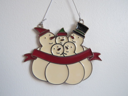 Snowman Family of Five Personalized Ornament 4 x 4