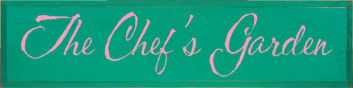 9x36 Emerald board with Pink text The Chef's Garden